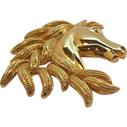 Napier Horse Head Brooch Shiny & Textured Goldtone Metal