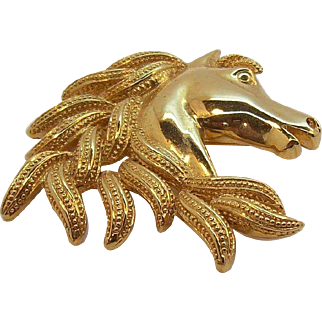 Napier Horse Head Brooch Shiny & Textured Goldtone Metal
