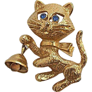 Vintage Avon Cute Cat Blue Rhinestone Eyes with Bell Pin