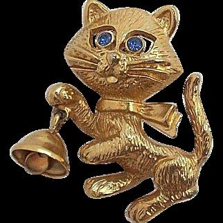 Avon Cute Cat Blue Rhinestone Eyes 3-D Bell Pin