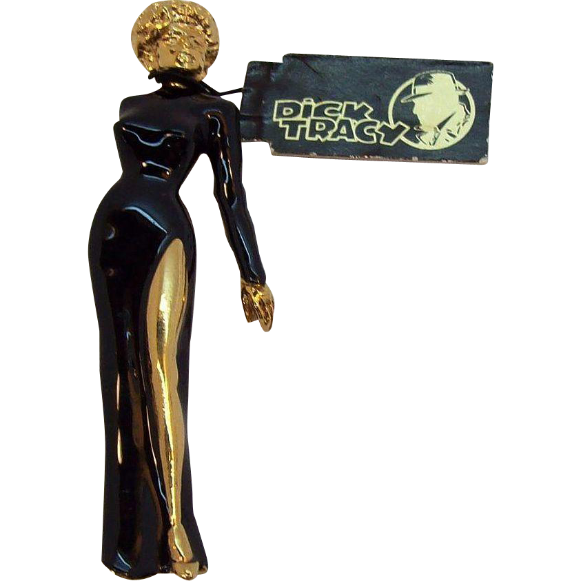 Black Enameled  Breathless Mahoney Brooch, Dick Tracy, Wendy Gell , Disney 1990  Mint with Original Tag