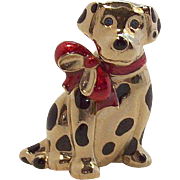 Adorable 3-D Dalmation Dog Wearing Red Bow Pin  Carolee