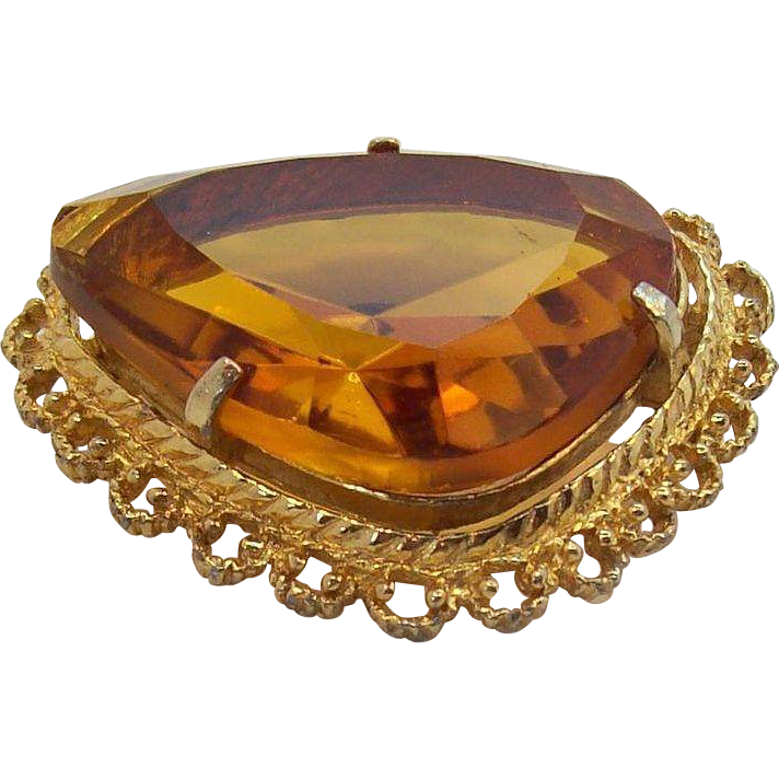Rich Open-Backed Honey Colored Faceted Stone Brooch Sphinx England