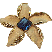 Trifari 3-D Flower Brooch with Sapphire Blue Square Shaped Center Rhinestone