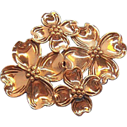 Beau Sterling Silver Layered Dogwood Flowers Pin
