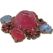 Reinad 3-D Pink & Blue Poured Glass Cabs & Rhinestones Flower Brooch