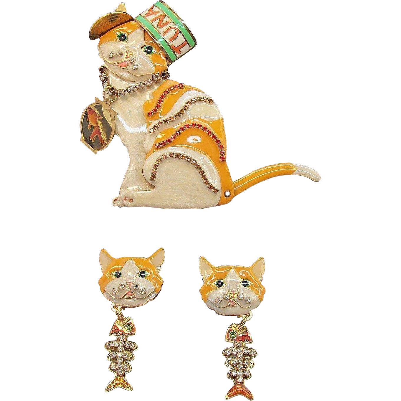 Vintage Whimsical Lunch At the Ritz Cat Brooch Dangle Earring Set Signed LATR  2GO