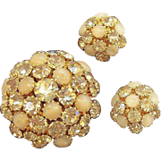 Dazzling Warner 3-D Domed Champagne Rhinestones Brooch & Earring Set