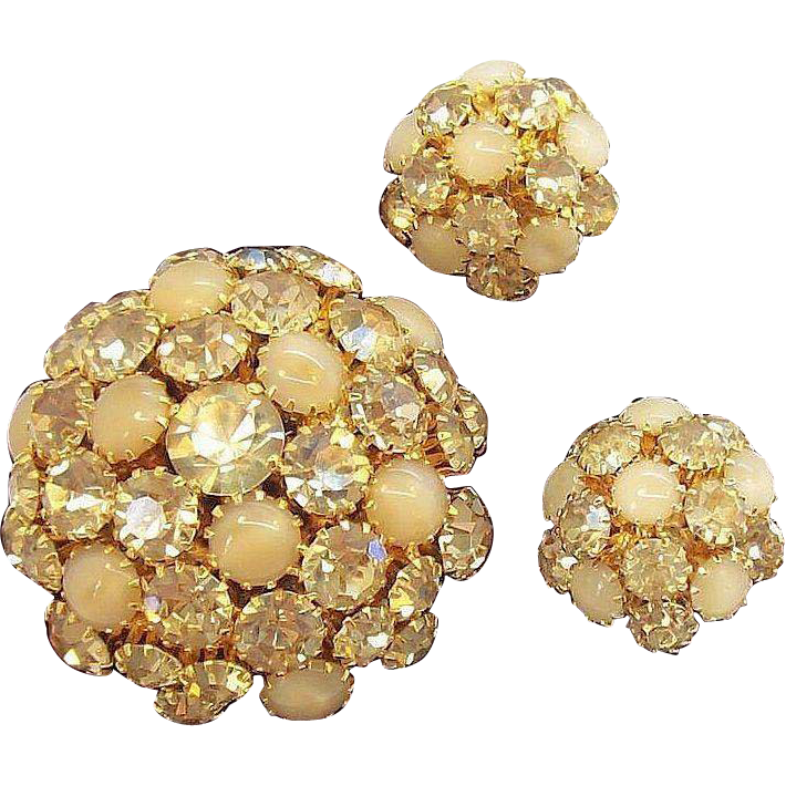 Dazzling Warner 3-D Domed Champagne Rhinestones Brooch & Earring Set