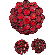 Warner 3-D Domed Ruby Red Rhinestones Black Metal Brooch & Earring Set