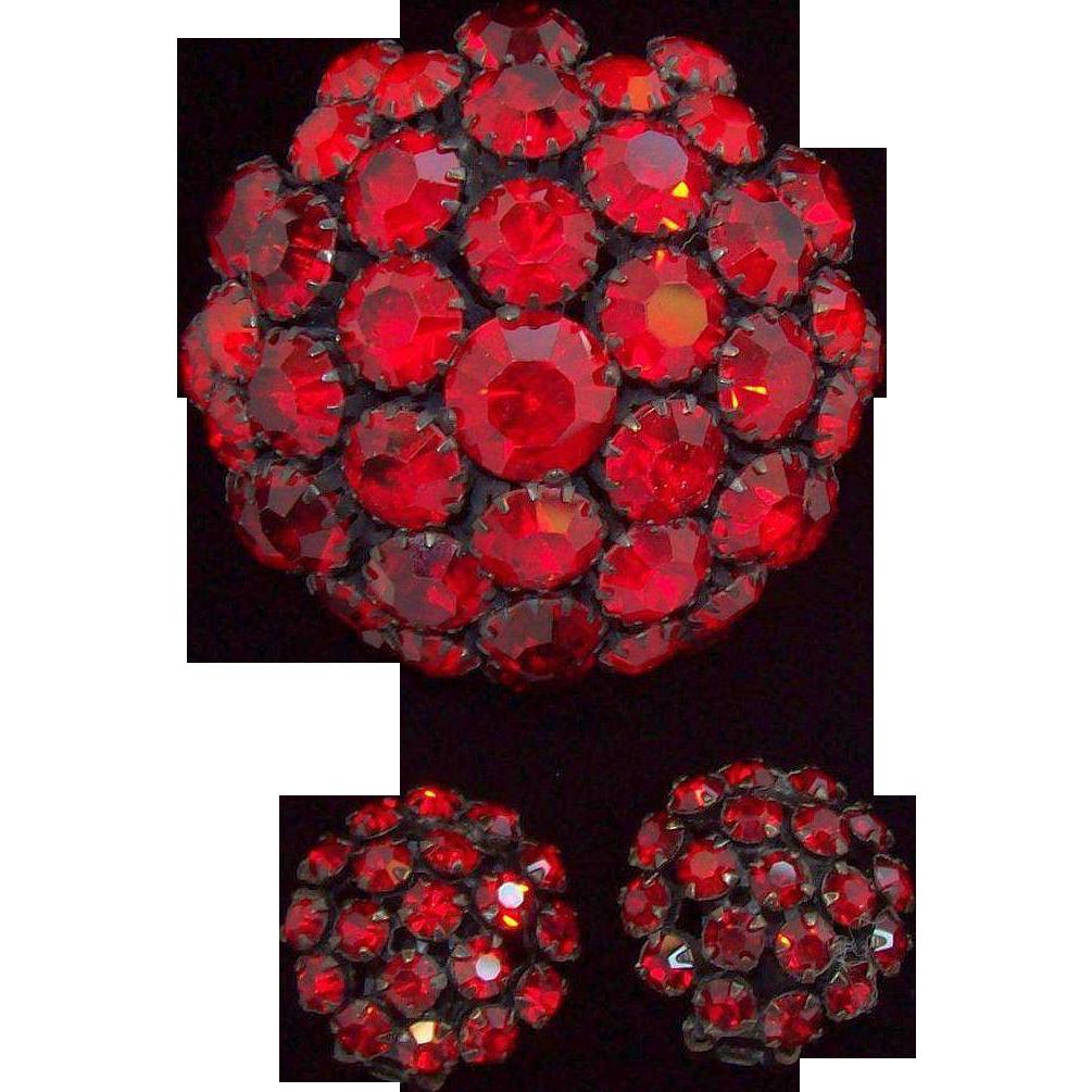 Warner 3-D Domed Ruby Red Rhinestones Black Metal Brooch & Earring Set