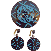 Bergere Geometric Design Black & Blue Enameled Metal Brooch & Earring Set