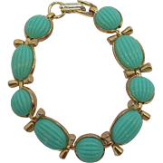 Seafoam Green Textured Oval Shaped Thermoset Plastic Cabs Bracelet