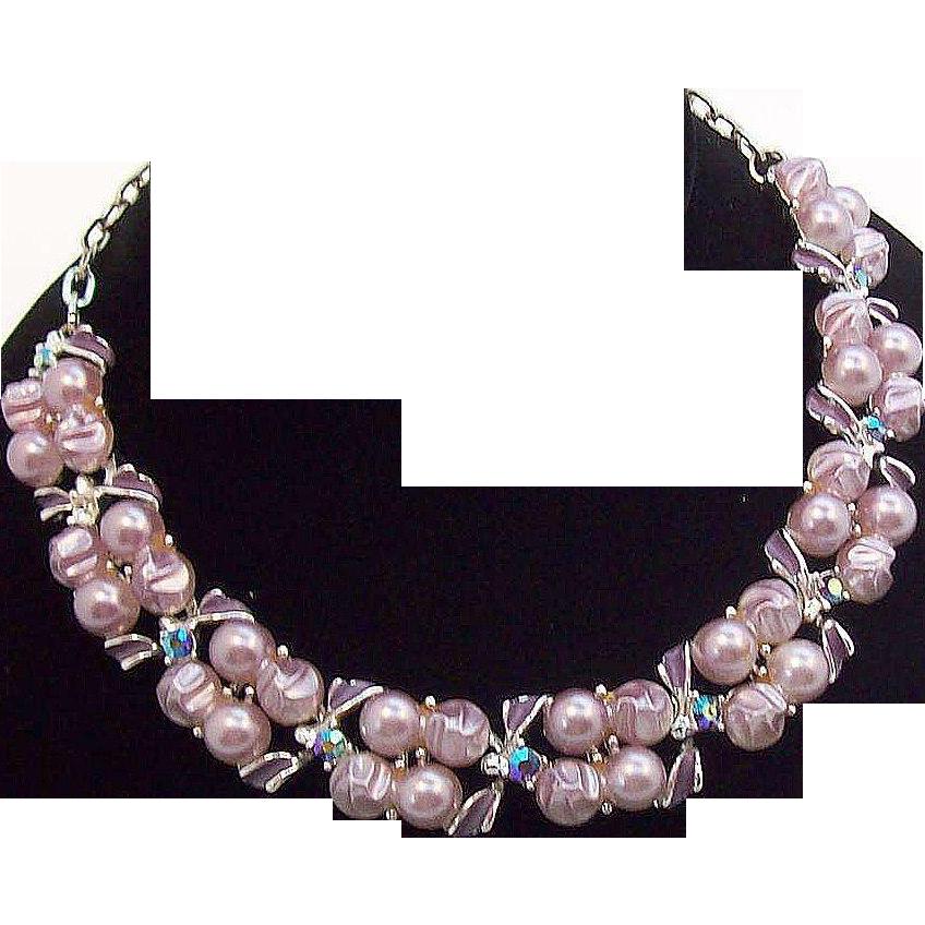 Stunning Lilac Lavender Imitation Pearls, Aurora Rhinestones & Enameled Choker Necklace