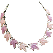 Lilac & Lavender Thermoset Plastic Leaves Choker Necklace