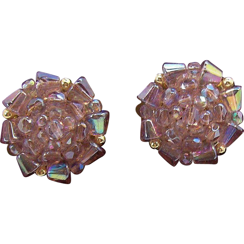 Aurora Borealis Lilac Crystal Beaded Clip on Earrings  Made in Western Germany