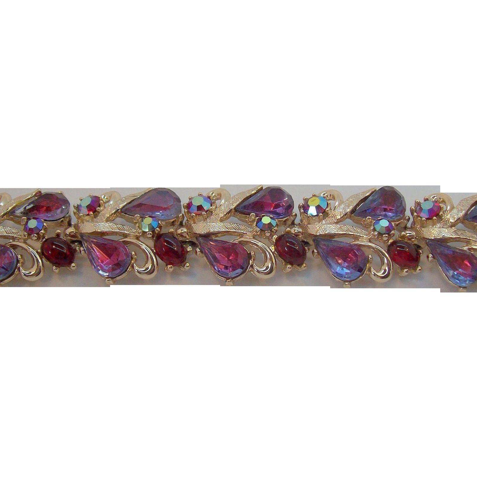 Glitzy Aurora Borealis Reds & Purple Rhinestone Bracelet Signed Art