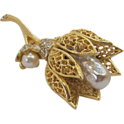 BSK  3-Dimensional Goldtone Metal Flower Brooch Imitation Pearls & Clear Rhinestones
