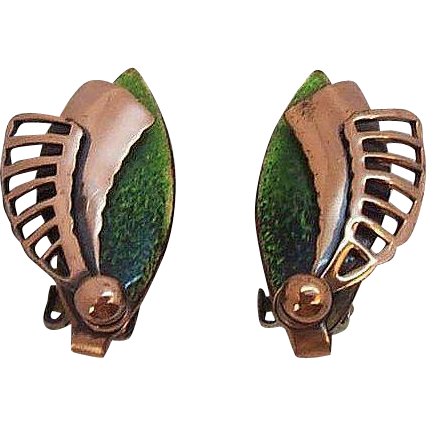Matisse Copper & Green Enameled 3-D Clip on Earrings
