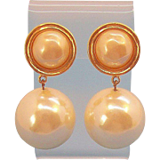 Carolee Large Round Dangle Imitation Pearl Earrings with Goldtone Metal Trim