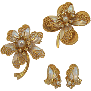 BSK  3- Dimensional Rhinestones & Enamel Flower Brooches & Earring Set