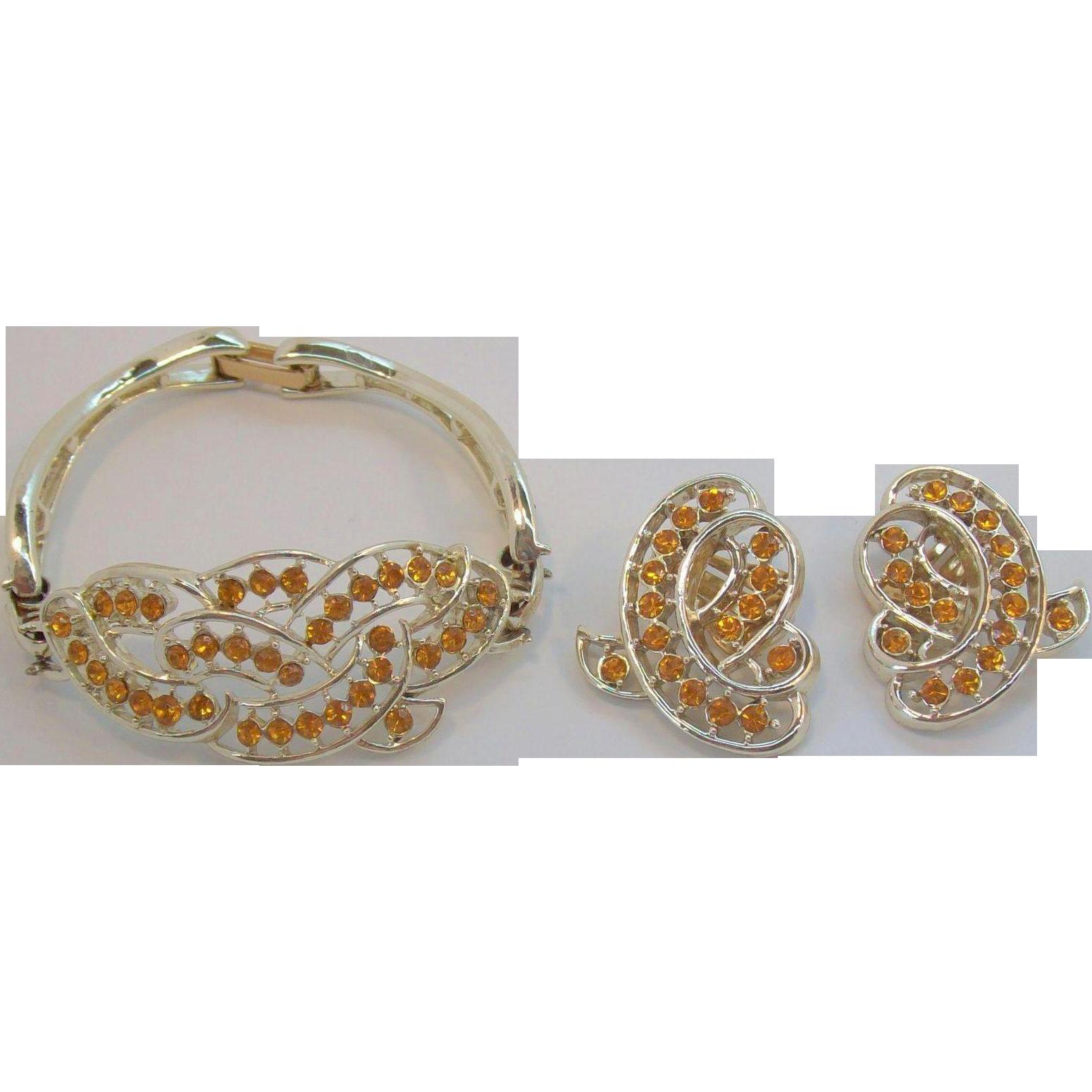 Kramer Citrine Colored Rhinestone Bracelet & Earring Set