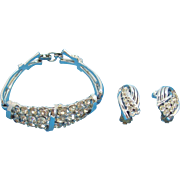Coro Silvertone Metal & Clear Rhinestone Bracelet & Clip On Earring Set
