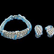 Coro Silvertone Metal & Clear Rhinestone Bracelet & Clip On Earring Set