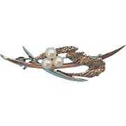 Interesting Sterling Silver Pin with Genuine Cultured Pearls