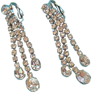 Vintage Long Glitzy Dangle Clear Rhinestone Clip on Earrings
