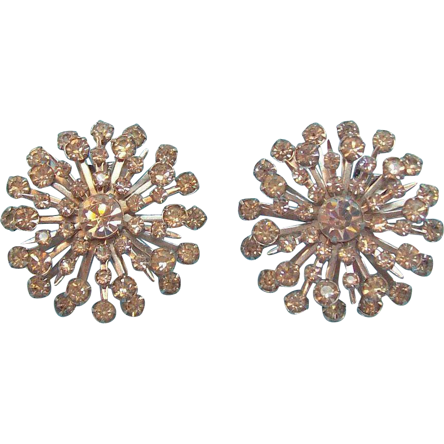 Round Clear Rhinestones & Silvertone Metal Snowflake Shaped Clip on Earrings