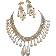Dangle Imitation Pearls & Clear Rhinestone Choker Necklace & Earring Set
