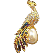 Nolan Miller Elegant Rhinestone & Imitation Pearl Peacock Brooch