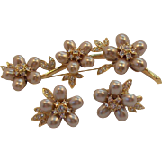 Nolan Miller Champagne Imitation Oval Pearls & Clear Rhinestones Floral Brooch & Earring Set