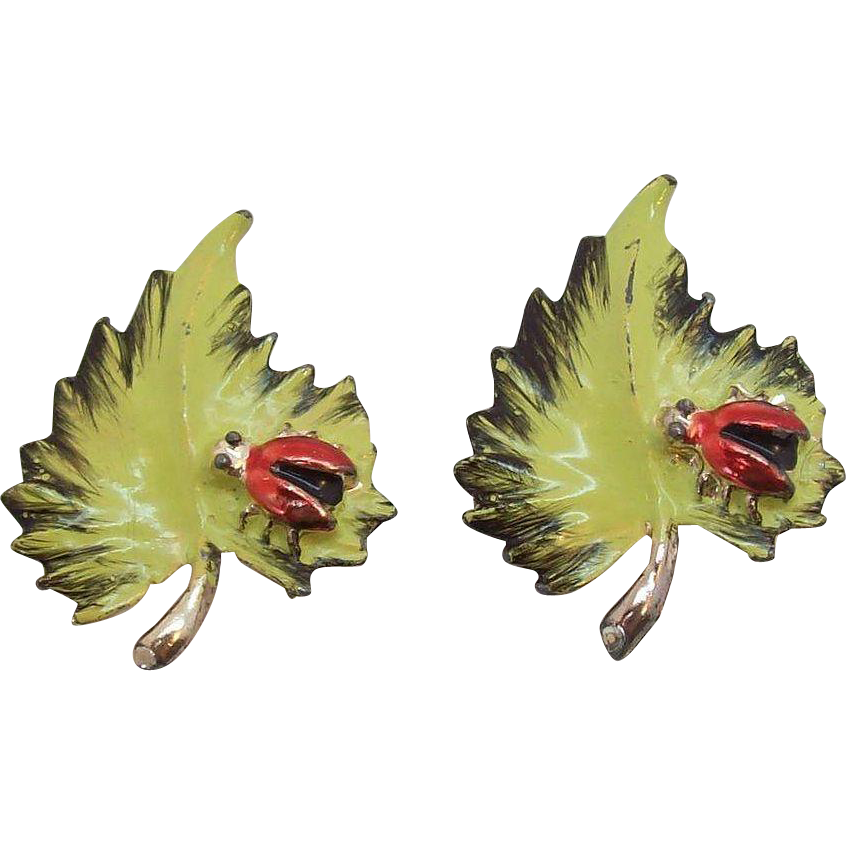 Cute Red Enameled Lady Bugs on Green Leaves Pair of Scatter Pins