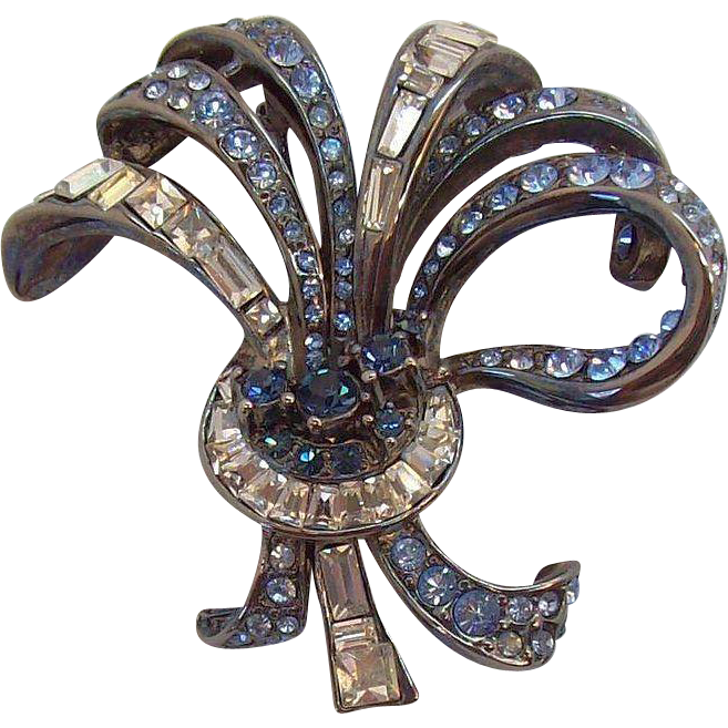 Carolee Dazzling 3-Dimensional Blue & Clear Rhinestone Ribbon Bow Brooch