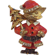 Red Enameled & Rhinestone Christmas Santa Cat Pin Carrying Tree  by JJ
