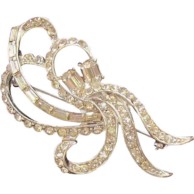 Lovely 3-Dimensional Abstract Ribbon Bow Brooch with Clear Rhinestones in Silvertone Metal