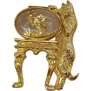 Whimsical Cat Standing By Fishbowl Brooch