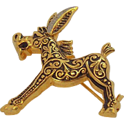 Vintage Cute Damascene Figural Donkey Pin