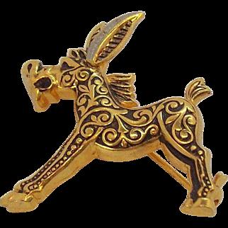 Cute Damascene Figural Donkey Pin