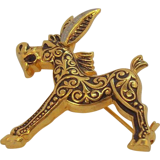 Cute Damascene Figural Donkey Pin