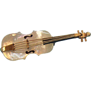 Mother Of Pearl & Goldtone Metal 3- D Violin Pin