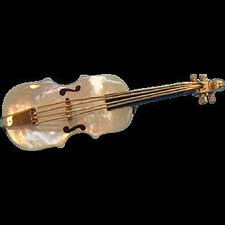 Mother Of Pearl & Goldtone Metal 3- D Violin Pin