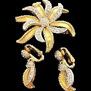 D'Orlan 3-D Rhinestone Flower Brooch & Dangle Earrings Set