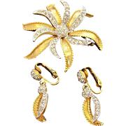 Vintage D'Orlan Rhinestone Flower Brooch Dangle Earrings Set