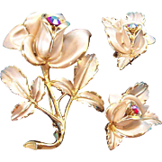 Florenza 3-Dimensional Enameled & Rhinestone Rose Brooch & Earring Set