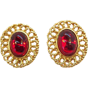 Large Oval Shaped Red Cabochon Goldtone Metal Clip on Earrings