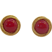 Napier Cherry Red Textured Goldtone Metal Adjustable Clip on Earrings