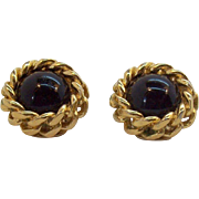 Christian Dior Black with Textured Goldtone Metal Chain Round Clip on Earrings